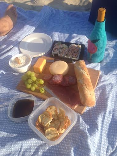 Close up shot of our picnic meal